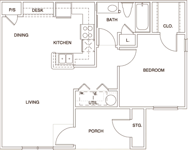 A1 - One Bedroom / One Bath - 676 Sq. Ft.*