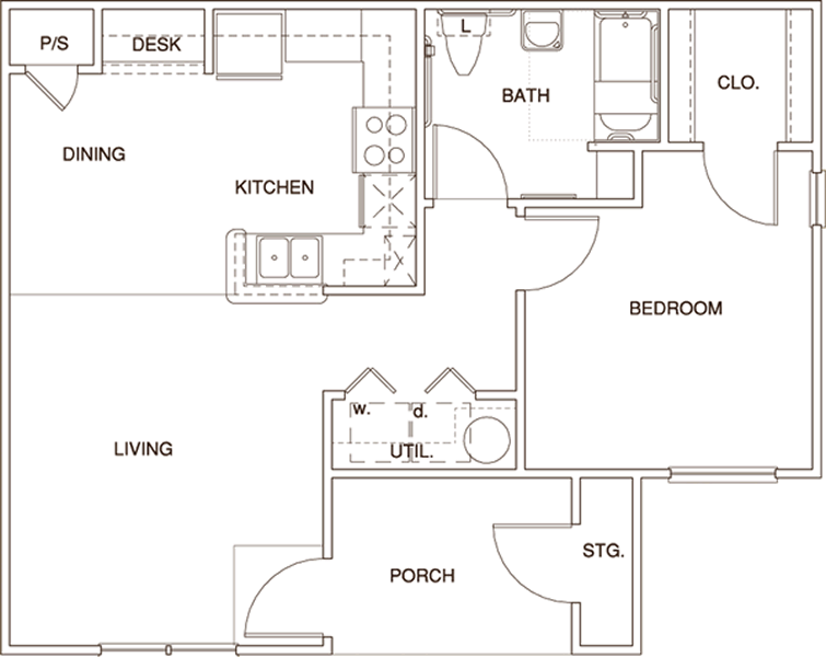 A1HC - One Bedroom / One Bath - 676 Sq. Ft.*