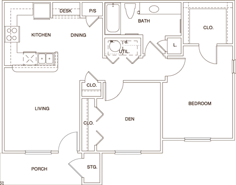 A2 - One Bedroom / One Bath - 869 Sq. Ft.*