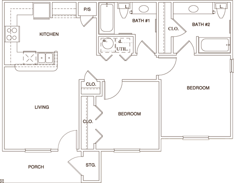 B1 - Two Bedroom / Two Bath - 869 Sq. Ft.*