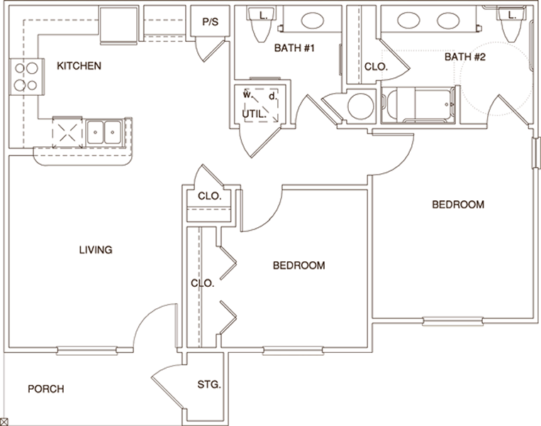B1HC - Two Bedroom / Two Bath - 869 Sq. Ft.*